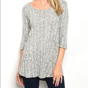 Grey 3/4 Sleeve Scoop Neck Ribbed tunic sweater